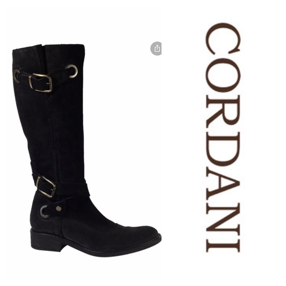 Cordani Suede Tall Black Boots With Buckles (37.5)